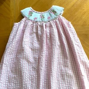 Pink & White Seahorse Smocked Dress